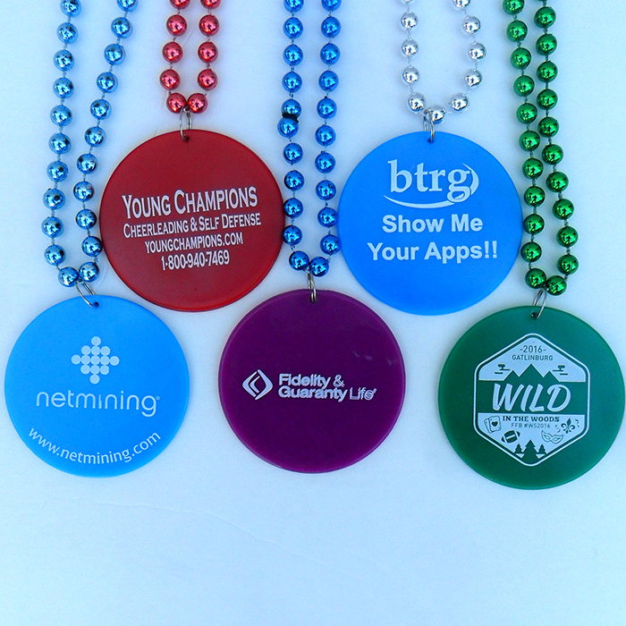 Direct Printed Mardi Gras Beads w/ Pendant - Not a Sticker